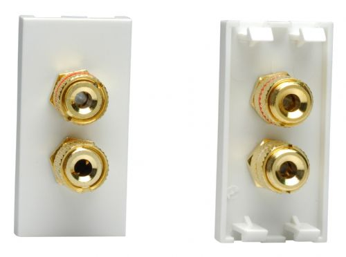 Varilight Z2GSP2W DataGrid White Speaker Module (2 gold banana or cable binding posts) (1 Space)